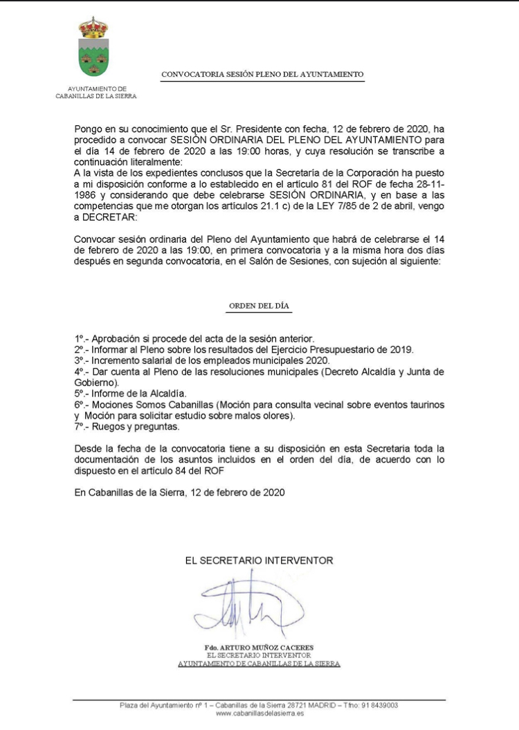 Convocatoria Pleno 14 feb2020